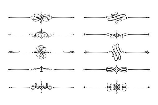 Hand drawn elegant filigree dividers. Ornate swirl borders. Vector isolated motif decor separators. Classic wedding invitation calligraphic lines.