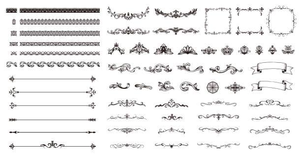 ręcznie rysowany elegancki zestaw ilustracji ramki. - ozdobny stock illustrations