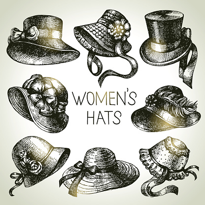 Hand drawn elegant vintage ladies set. Sketch women hats. Retro