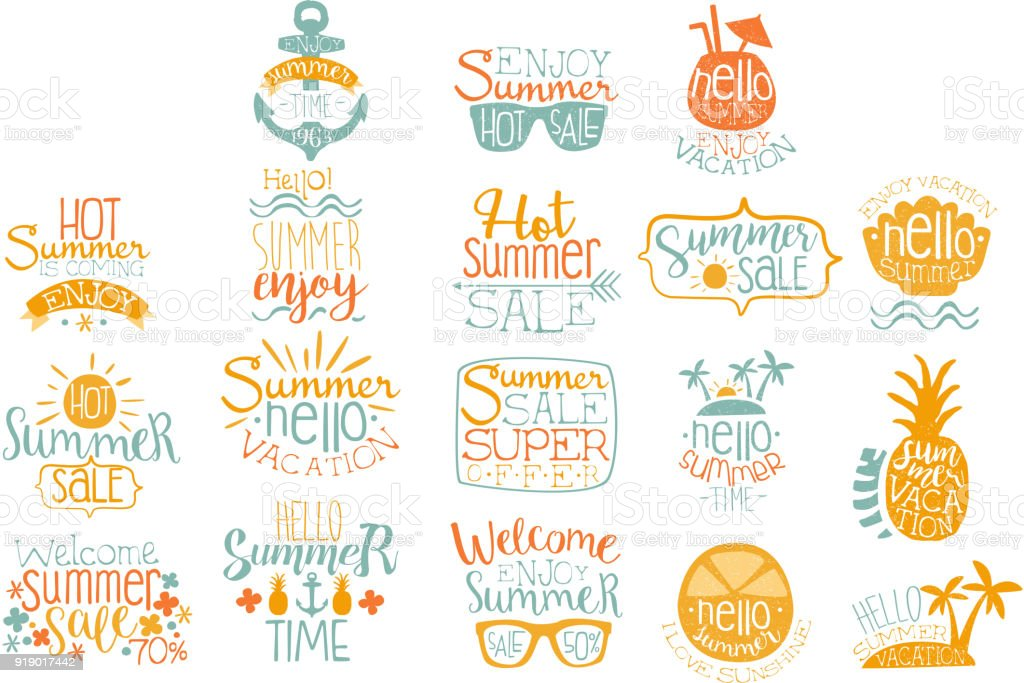 Hand drawn elements for summer calligraphic icon design. Beach vacation and hot sale concepts. Lettering with cocktails, tropical islands, sunglasses. Vector set vector art illustration