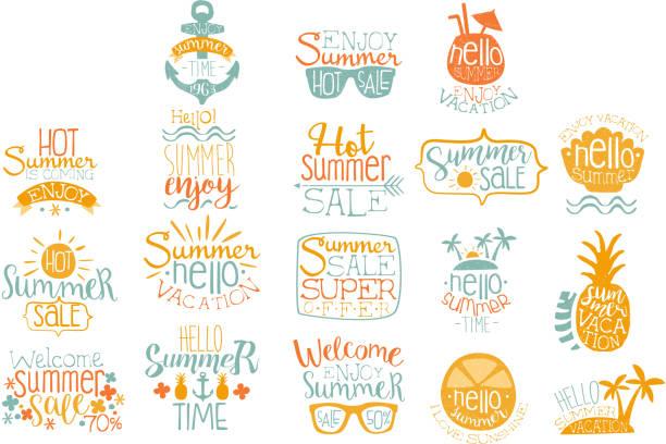 ilustraciones, imágenes clip art, dibujos animados e iconos de stock de mano dibuja elementos para el diseño de icono caligráfico de verano. vacaciones en la playa y conceptos de venta caliente. rotulación con cócteles, islas tropicales, gafas de sol. conjunto de vectores - verano
