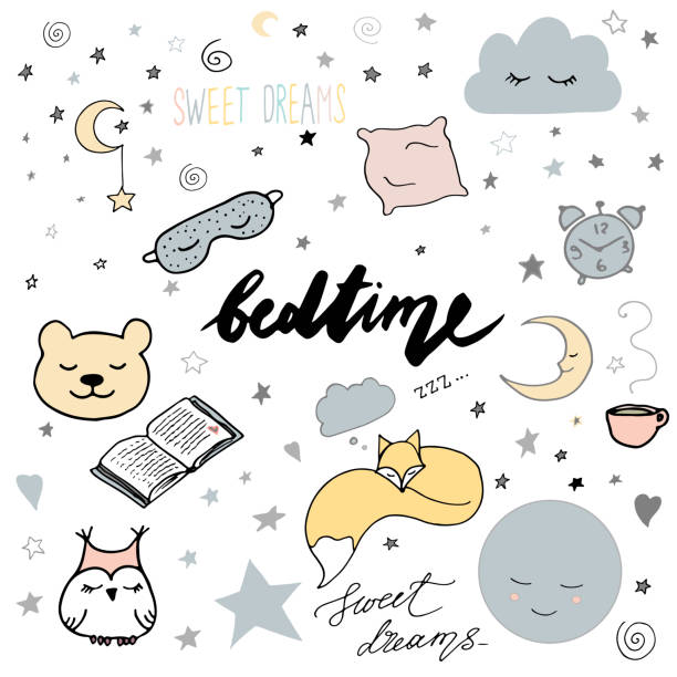 hand drawn elements: good night dreamcatcher sleeping moon book toys animals alarm clock stars owl cup of tea fox heart sweet dreams lettering nap colors - bedtime story stock illustrations