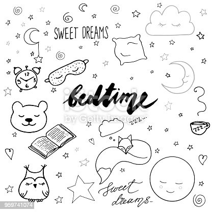 Hand drawn elements: good night dreamcatcher sleeping moon book toys animals alarm clock stars owl cup of tea fox heart sweet dreams lettering nap black and white and gray monochrome