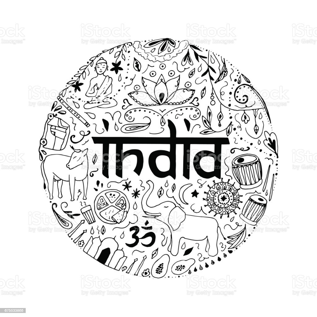 Hand drawn elements of India on a white background. hand drawn elements of india on a white background – cliparts vectoriels et plus d'images de affiche libre de droits