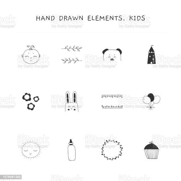 Hand drawn elements set for children related businesses vector id1078581350?b=1&k=6&m=1078581350&s=612x612&h=trdjyyazhk17ndb5e0iwdg9ieuj40 dvhikfdtf8l u=