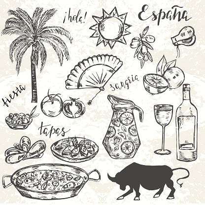 Hand drawn elements typical for spanish culture.