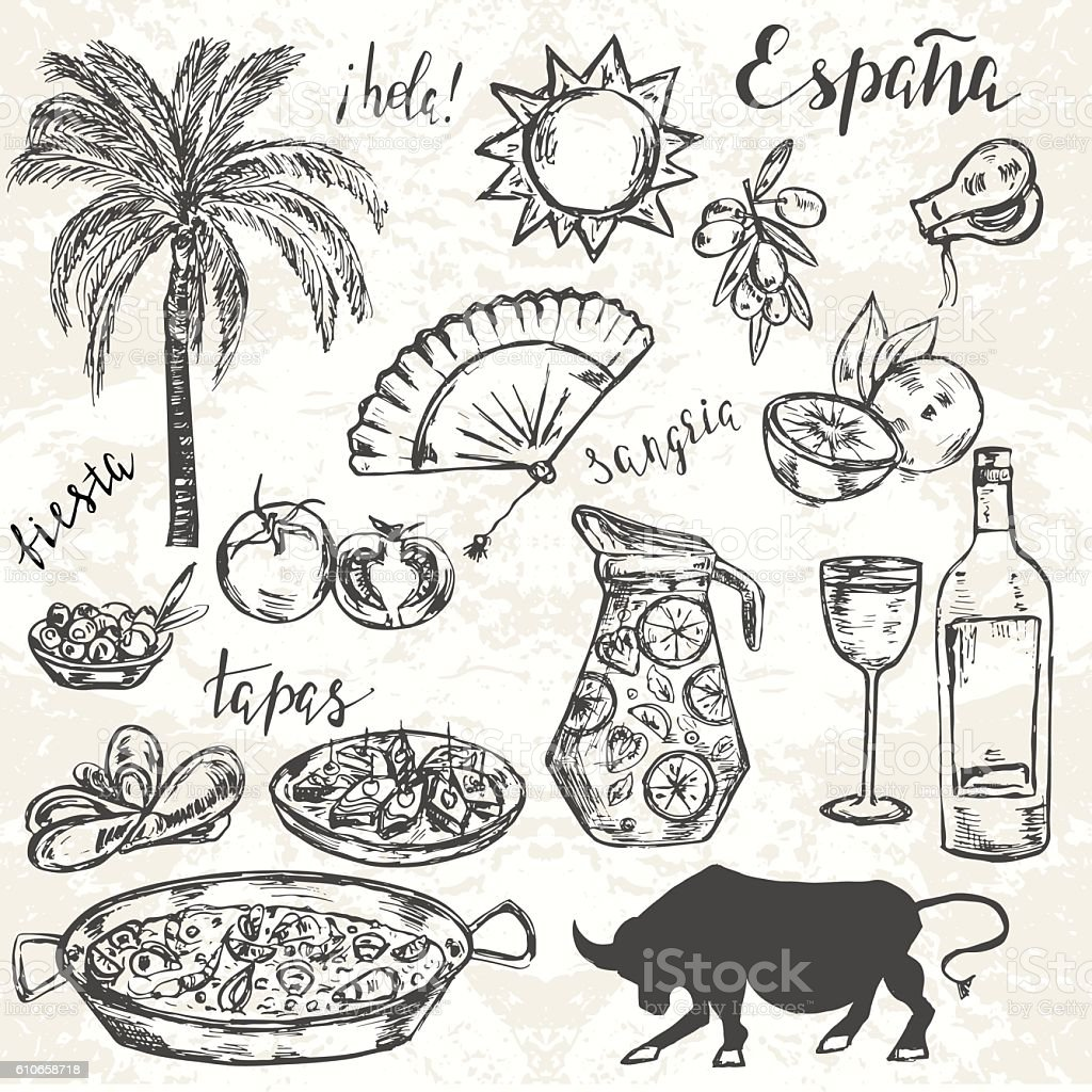 Hand drawn elements typical for spanish culture. vector art illustration