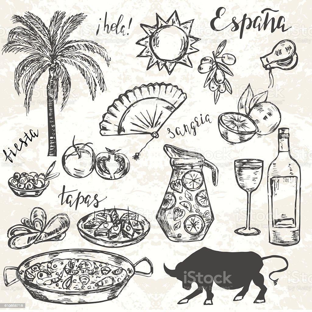Hand drawn elements typical for spanish culture. - ilustração de arte em vetor