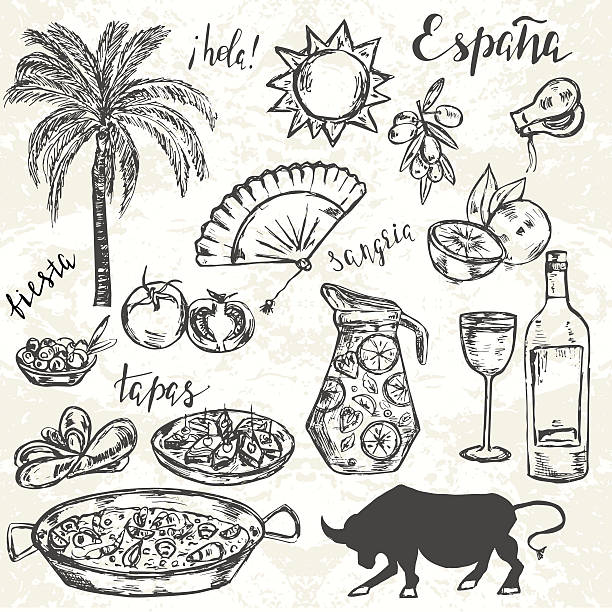 stockillustraties, clipart, cartoons en iconen met hand drawn elements typical for spanish culture. - paella