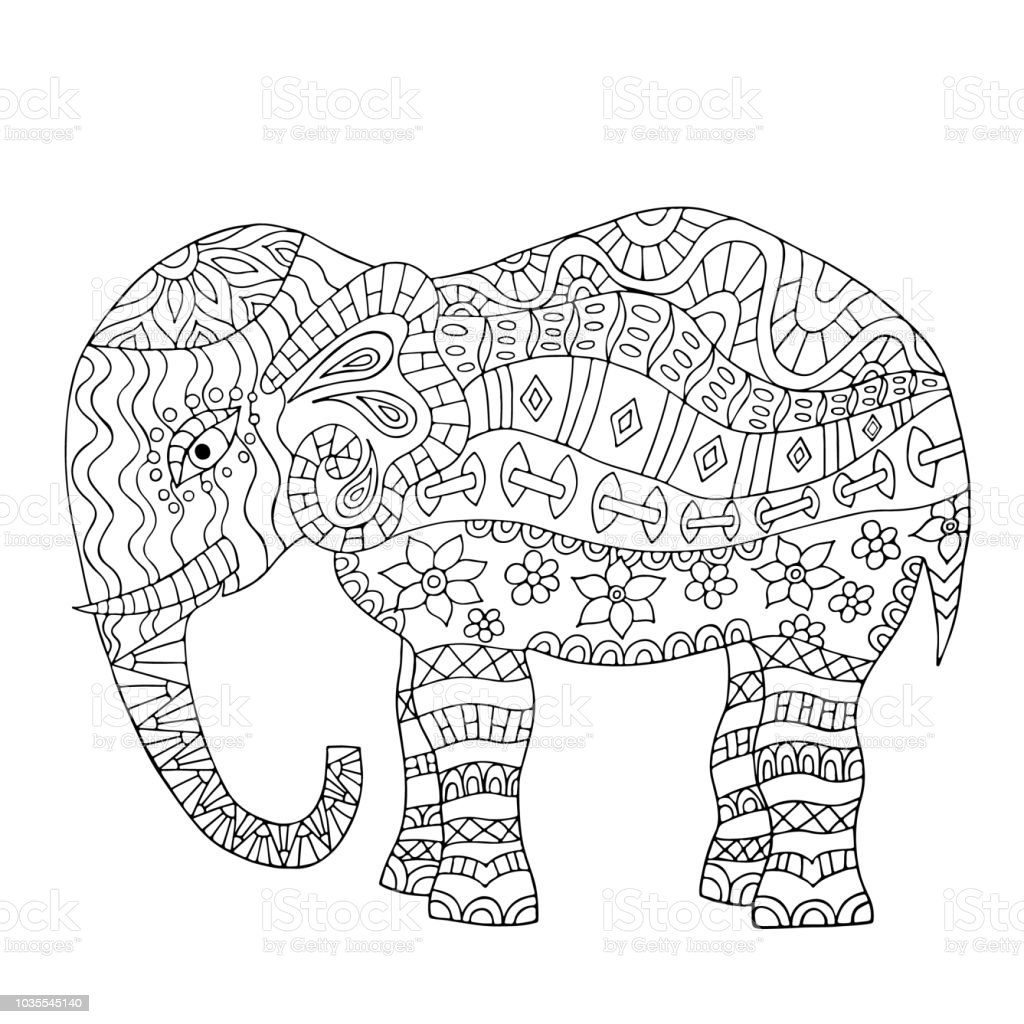 Hand Drawn Elephant Coloring Page Stock Vector Art & More