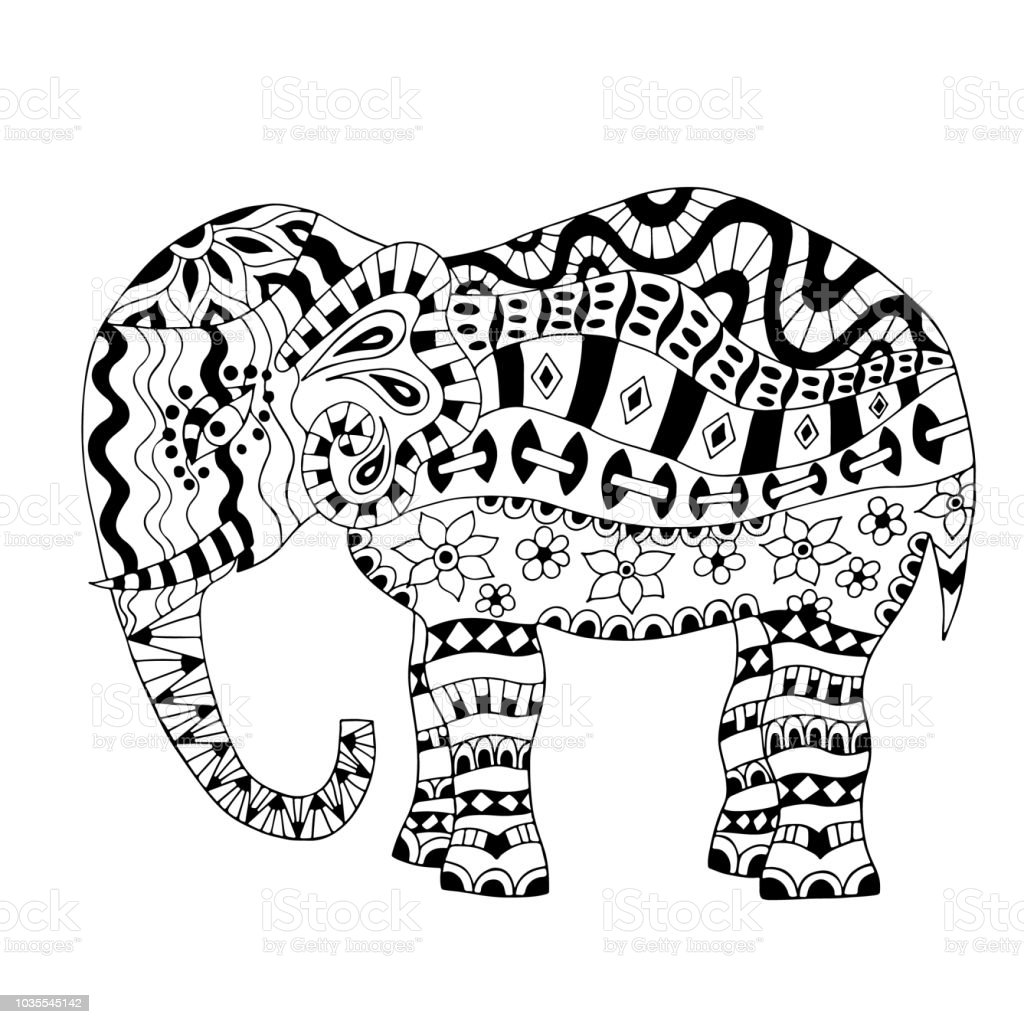 Animal Elephant Belarus India Thailand Hand Drawn Coloring Page