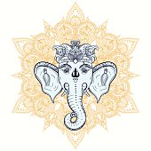 Hand drawn Elephant Head on ornament background. Indian god Lord