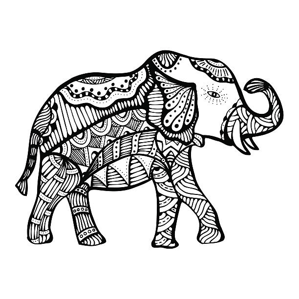 Royalty Free Black And White Elephant Clip Art, Vector