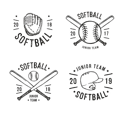 Hand Drawn Emblem of softball. Graphic design for t-shirt and stickers. Vector illustration on white background