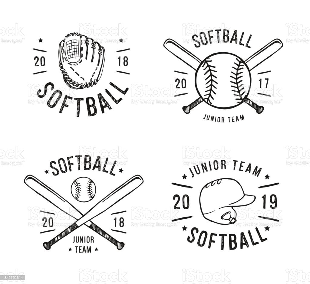 Hand Drawn Emblem of softball. Graphic design for t-shirt and stickers. Vector illustration on white background vector art illustration