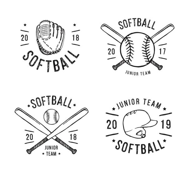 hand drawn emblem of softball. graphic design for t-shirt and stickers. vector illustration on white background - softball stock illustrations, clip art, cartoons, & icons