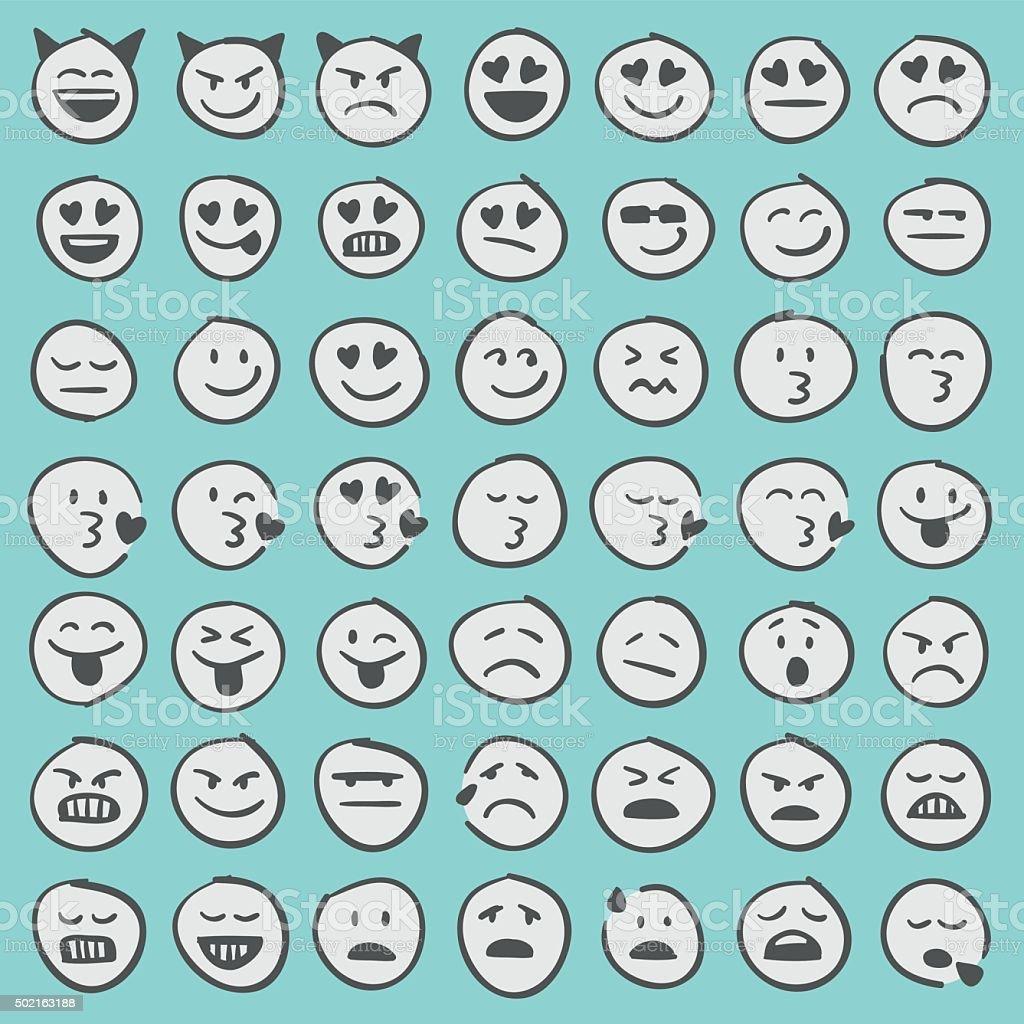 Conjunto de iconos dibujados a mano emoji 2 - ilustración de arte vectorial