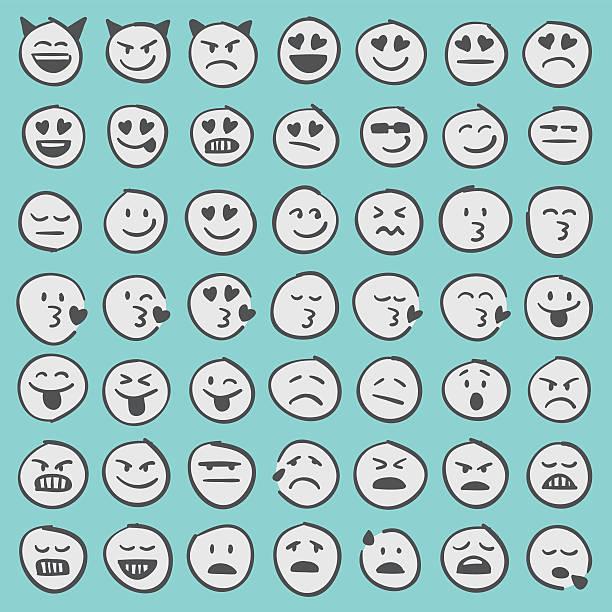 ilustraciones, imágenes clip art, dibujos animados e iconos de stock de conjunto de iconos dibujados a mano emoji 2 - emoji perezoso
