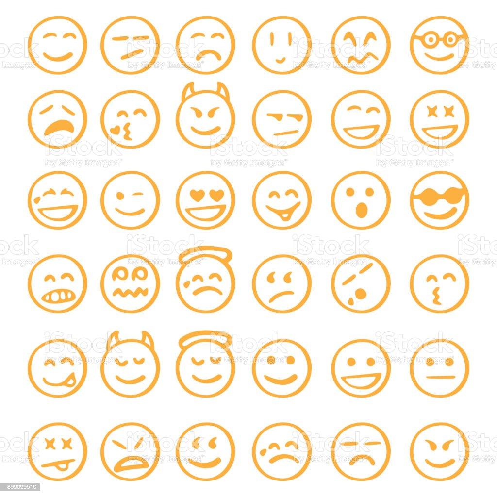 jeu d'icônes emoji dessinés à la main - Illustration vectorielle