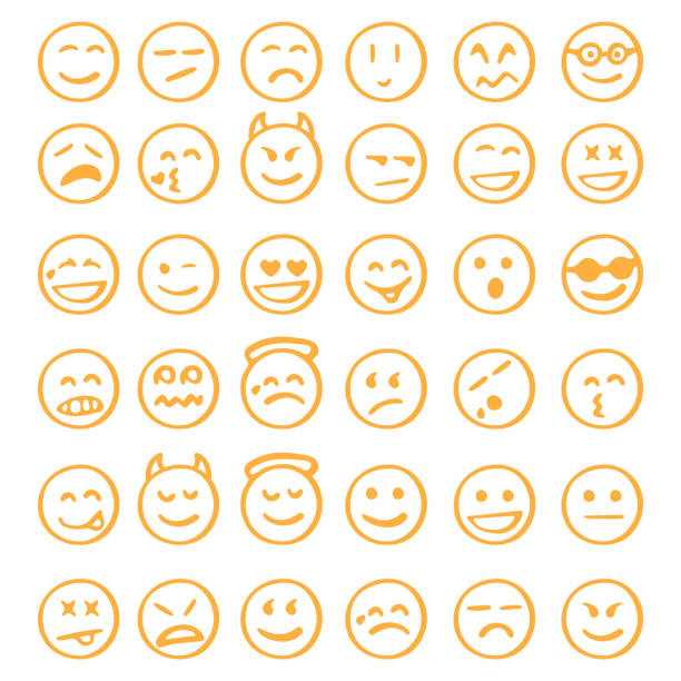 hand drawn emoji icons set emoticons set relief emotion stock illustrations