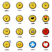 Vector illustration of a set of hand drawn emoticons reactions