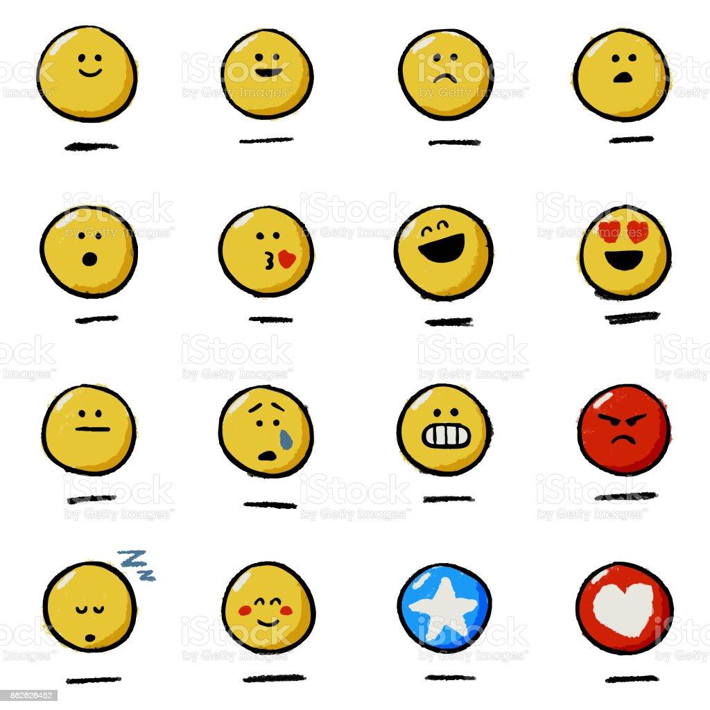 Hand drawn emoticons reactions vector art illustration