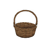 Hand drawn empty basket. Illustration of Basket isolated on white background. Autumn harvest symbol, logo, emblem. Natural food for farmers market.