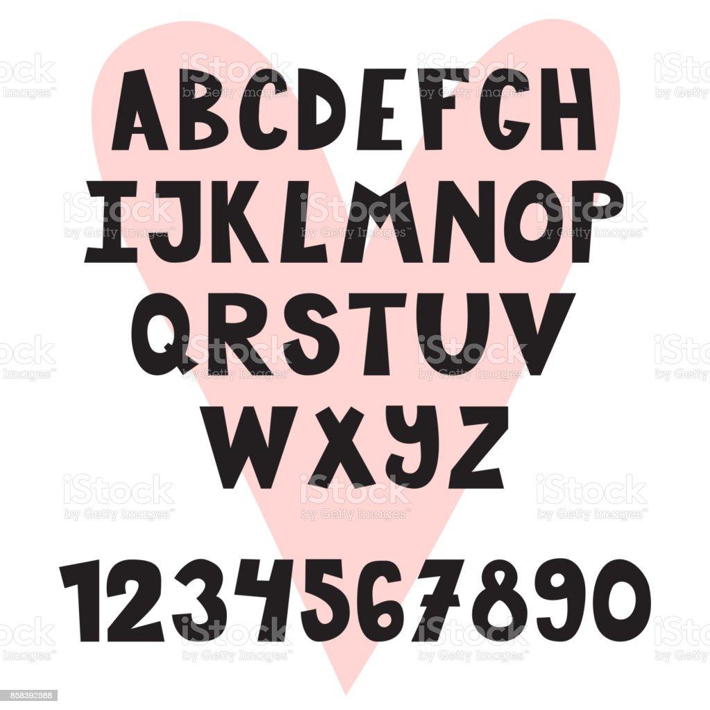 手には英語のアルファベットが描かれましたかわいい文字と数字フォント