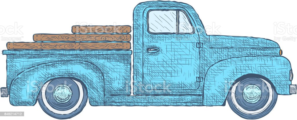 Hand drawn Engraved Retro Vintage Pickup Truck. Vector vector art illustration