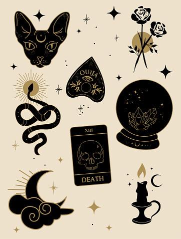 Hand drawn esoteric elements. Vector illustration.