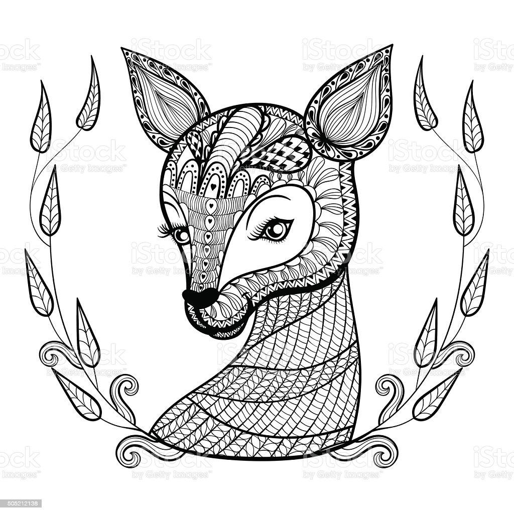 Volwassen Kleurplaat Kat Hand Drawn Ethnic Ornamental Patterned Cute Deers Face In