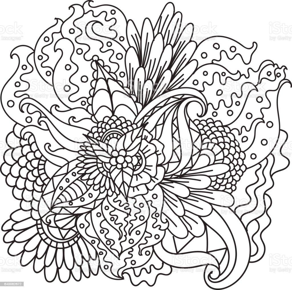 Hand drawn ethnic ornamental patterned floral frame. vector art illustration