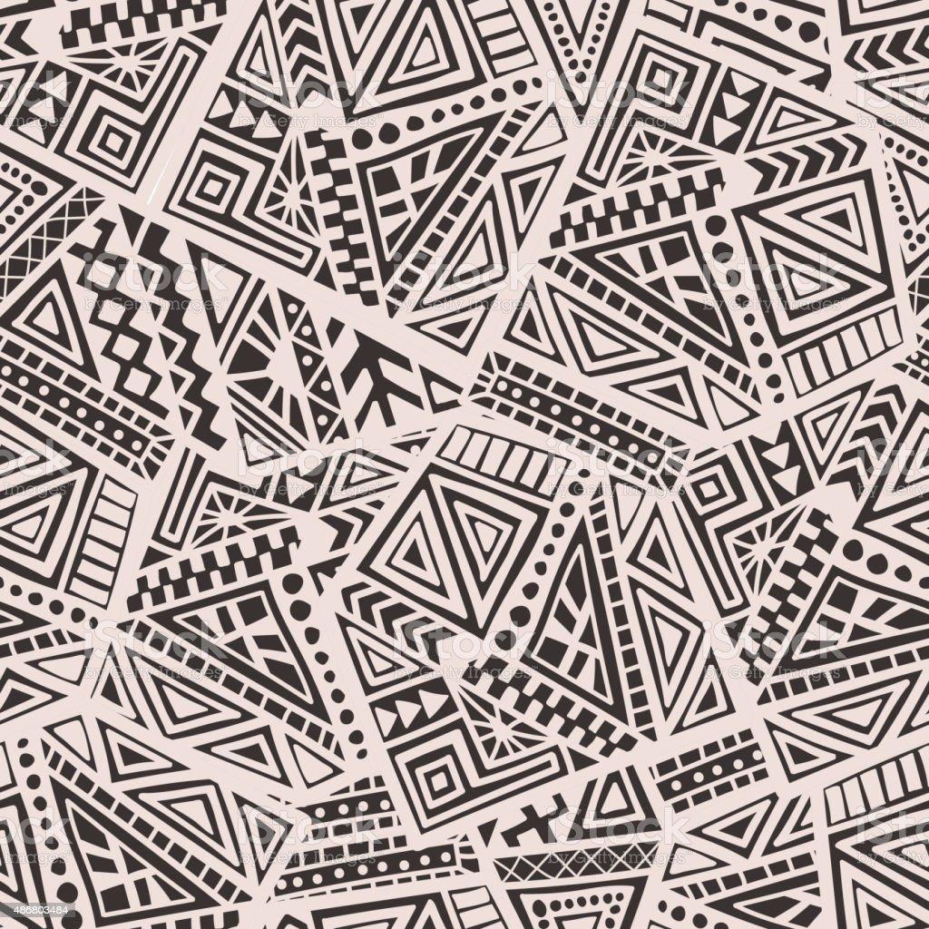 Dibujados a mano patrón sin costuras étnico - ilustración de arte vectorial
