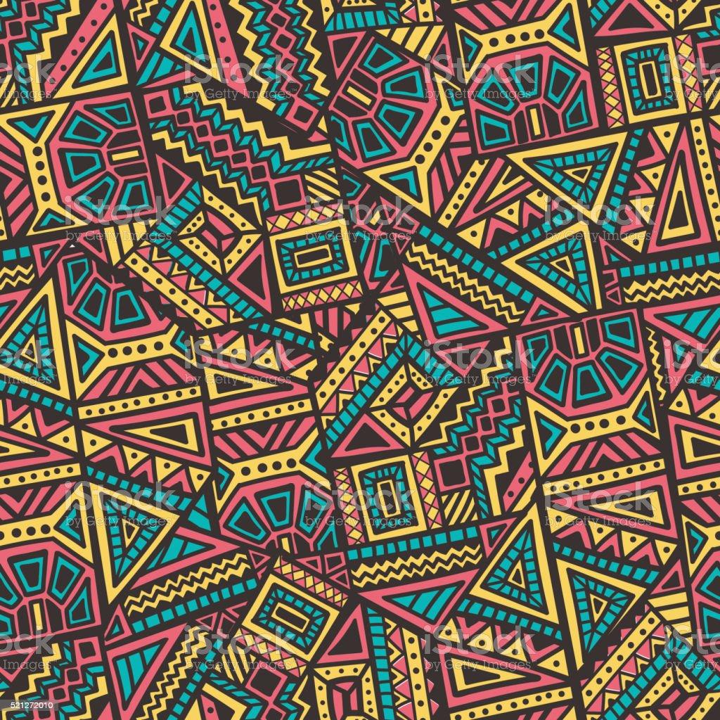 Hand Drawn Ethnic Seamless Pattern vector art illustration