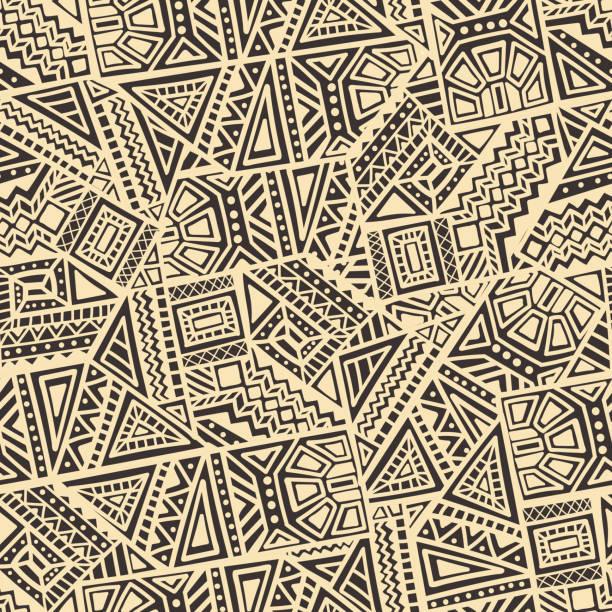 hand drawn ethnischen nahtlose muster - schrottplatzkunst stock-grafiken, -clipart, -cartoons und -symbole