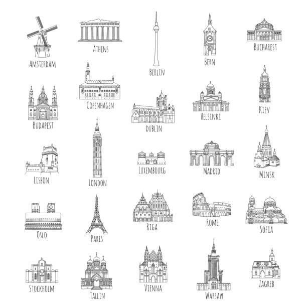 illustrazioni stock, clip art, cartoni animati e icone di tendenza di 25 hand drawn european landmarks - lisbona