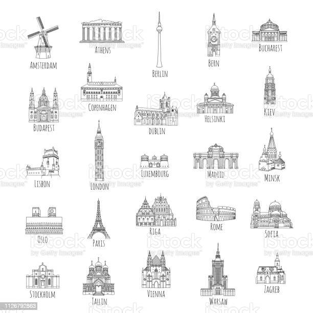 Set of 25 hand drawn landmarks from various European capitals, black ink illustrations