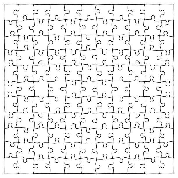 Hand drawn extractable jigsaw puzzle pieces vector art illustration