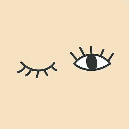 Hand drawn eye doodles. Open and winking eyes.
