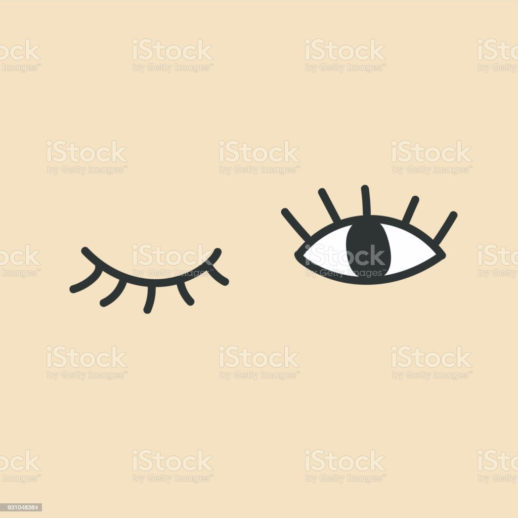 Hand drawn eye doodles. Open and winking eyes. vector art illustration
