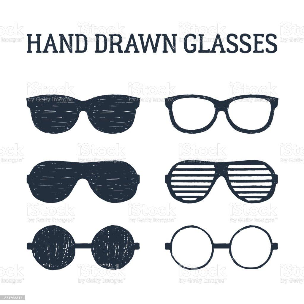 Hand drawn eye glasses and sunglasses illustrations set. vector art illustration