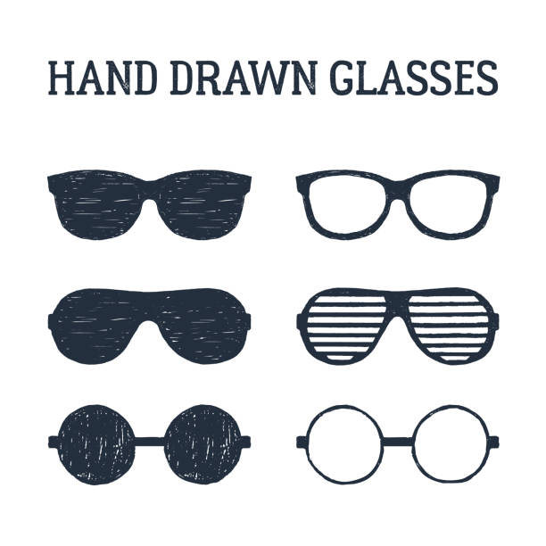 hand drawn eye glasses and sunglasses illustrations set. - okulary stock illustrations