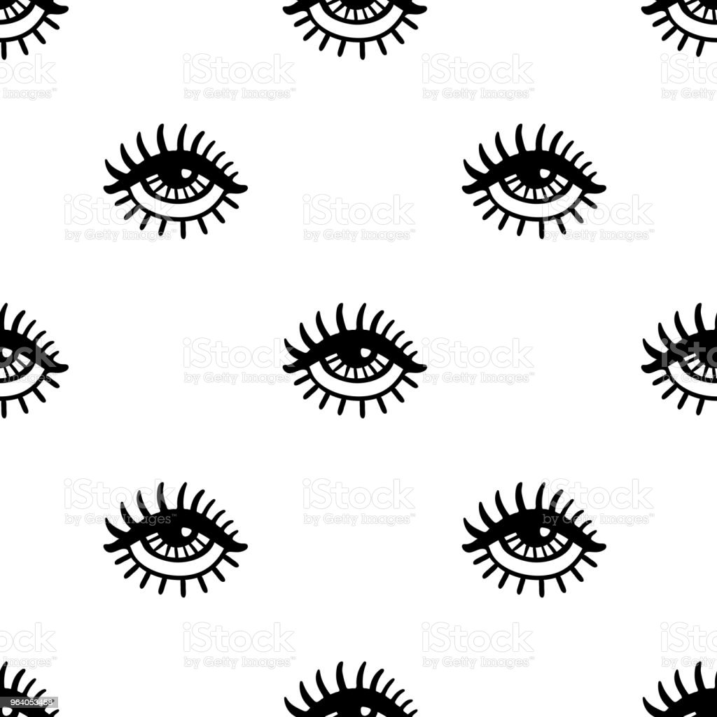 Hand drawn eye seamless pattern - Royalty-free Black And White stock vector