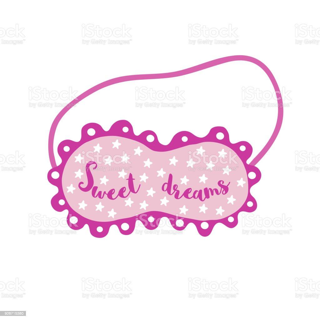 Ojo dibujado mano máscara de dormir - ilustración de arte vectorial
