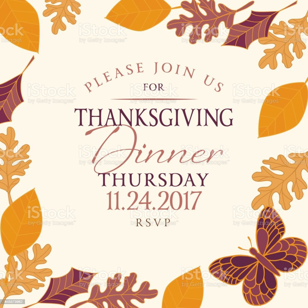 Hand Drawn Fall Leaves Background With Thanksgiving Dinner Invitation Royalty Free