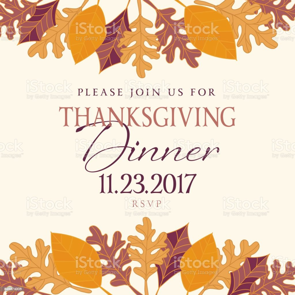 hand drawn fall leaves background with thanksgiving dinner