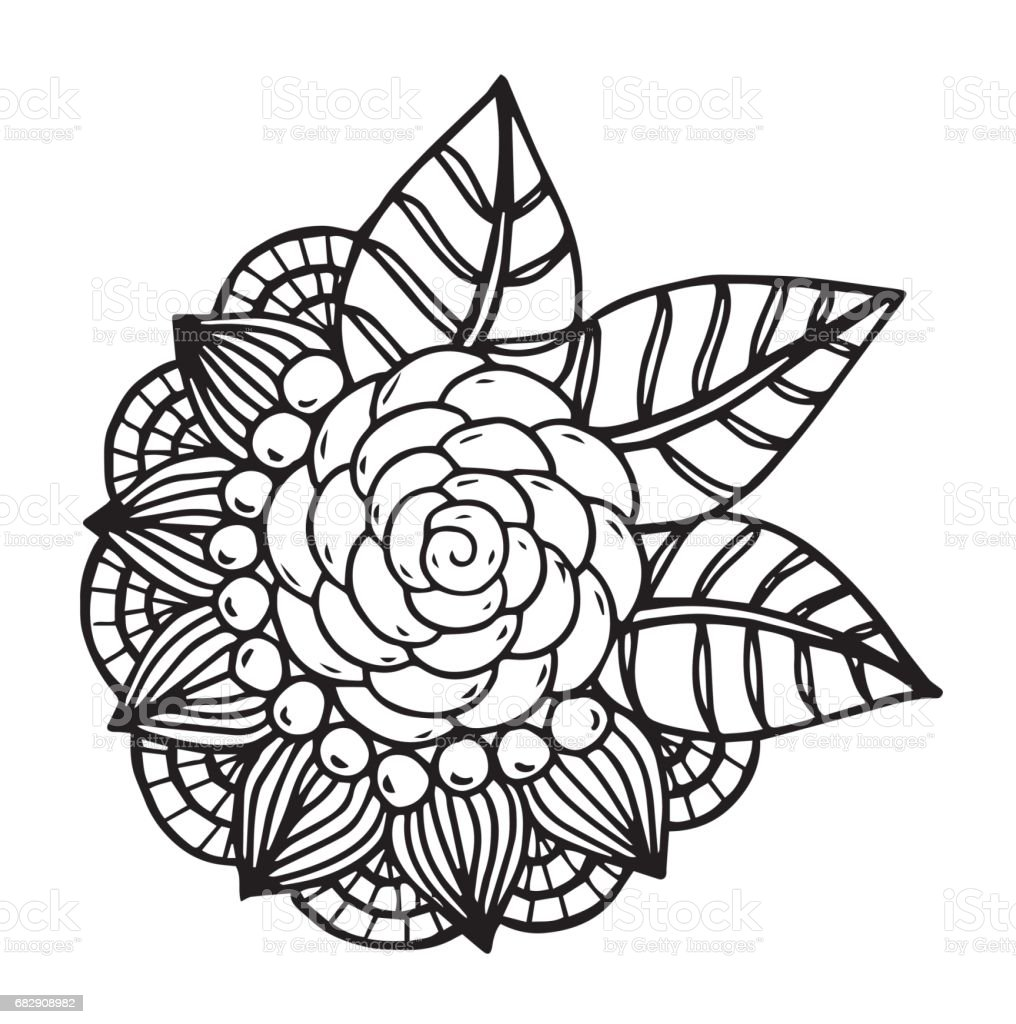 Hand Drawn Fantasy Flowers Coloring Page Illustration