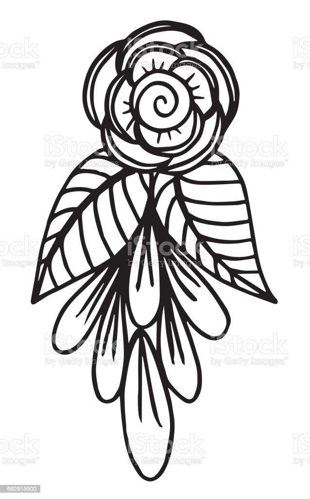 Ilustración de Dibujado A Mano Fantasía Flores Para Colorear Página ...