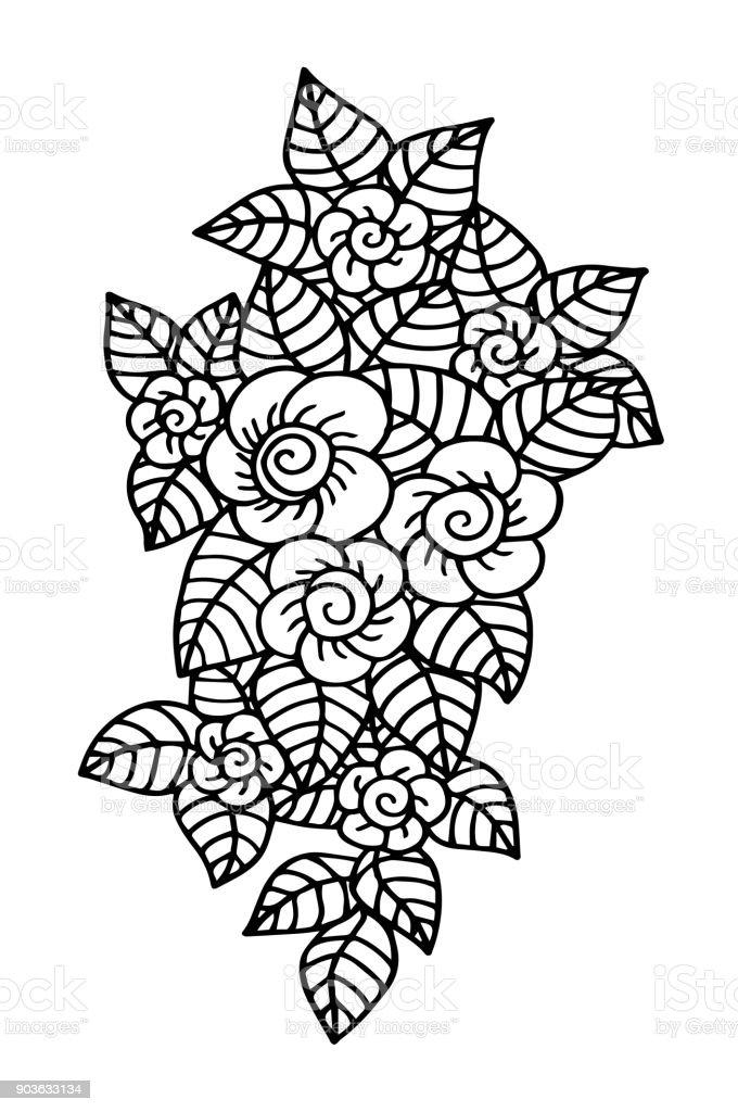 Kleurplaten Fantasie Dieren.Hand Getrokken Fantasie Bloemen Kleurplaten Pagina Afbeelding Batik