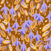 Floral bloom ornament. Hand drawn fantasy flowers seamless pattern. Summer botanical background.